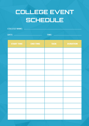 College Event Schedule Design