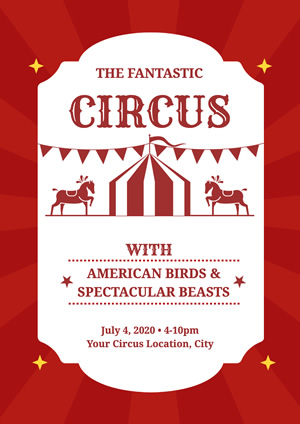 Red Fantastic Circus Poster Design