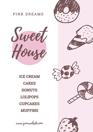 Cute Pink Sweet Shop Poster Design