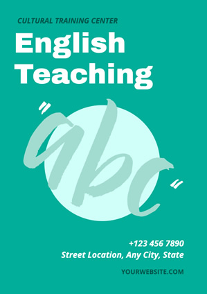 Green English Teaching Abc Poster design