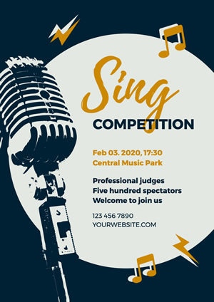 Microphone Singing Competition Poster Design