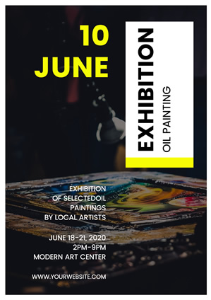 Beautiful Oil Painting Exhibition Poster Design