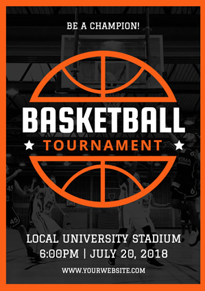 Orange Lined Basketball Tournament Poster Design