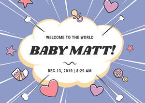 Cute Baby Birth Announcement Card Design