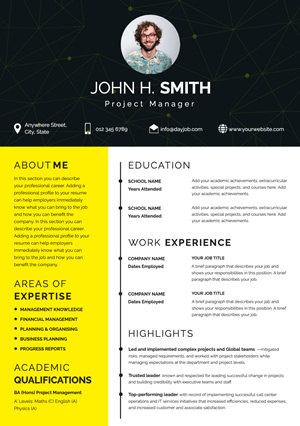 Modern Project Manager Resume Design