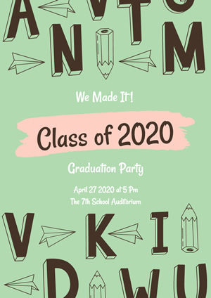 Cute Green Graduation Party Poster Design