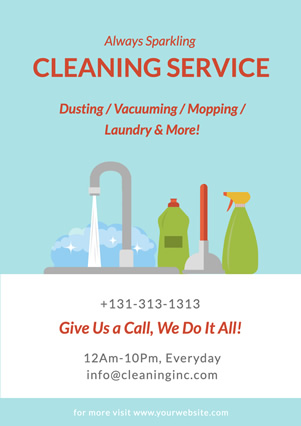 Water Faucet and Cleaning Supplies Flyer Design