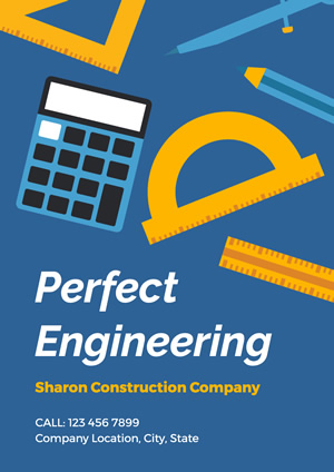 Blue Construction Company Engineering Poster Poster Design
