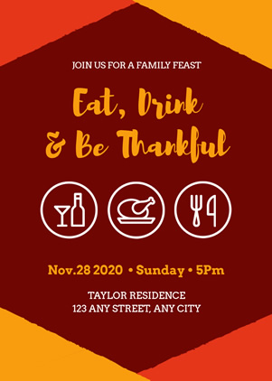 Thanksgiving Family Party Invitation Design