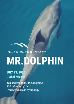 Dolphin Photo Ocean Documentary Poster Design