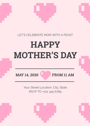 Pink Mothers Day Celebration Invitation Design