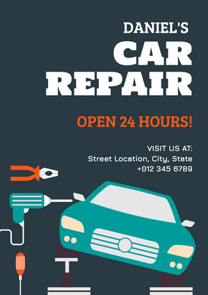 Blue Car Repair Poster Design