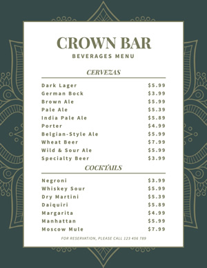 Bar Menu design