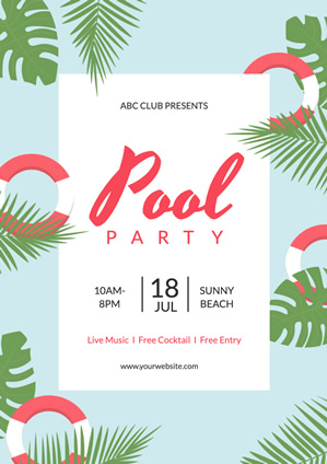 Pool Party Beach Poster design