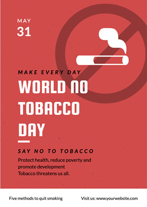 Red Anti Smoking Poster Design