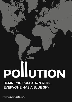 Minimalist Black and White Air Pollution Poster Poster Design