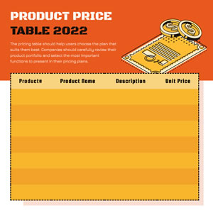 Product Price Table Chart Design