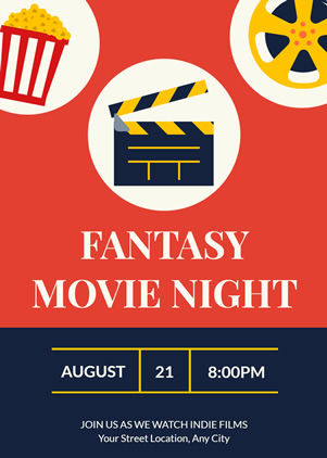 Colorful Movie Night Invitation Design