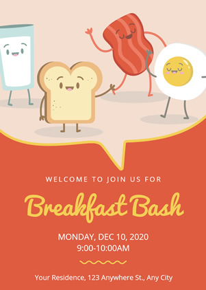 Breakfast Bash Invitation Design