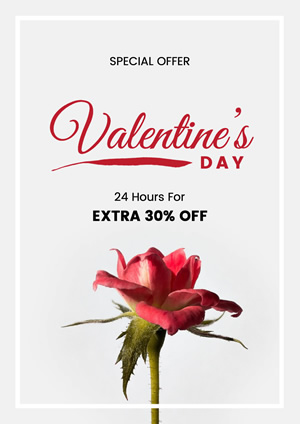 Red Rose Valentines Day Special Offer Poster Poster Design
