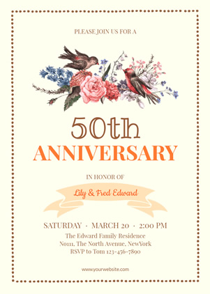 50th Anniversary Party Invitation Design
