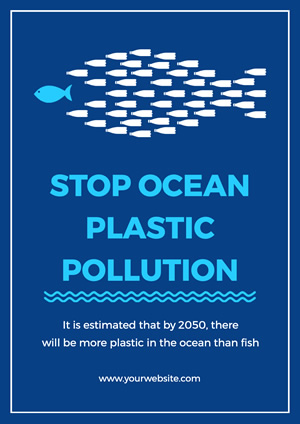Blue Ocean Plastic Pollution Poster design