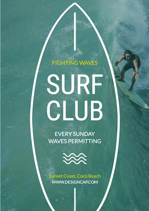 Club Recruit Surf Club Flyer Design