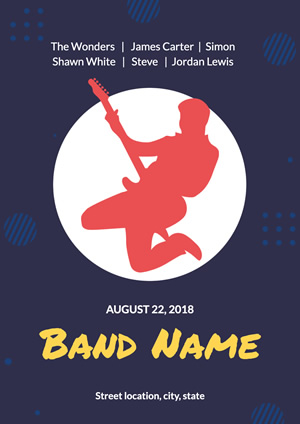 Blue Bandsman Music Band Poster Poster Design