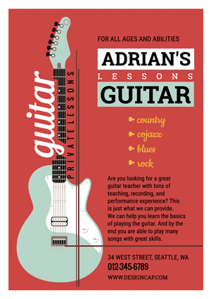 Education Guitar Class Flyer design