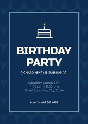 40th Birthday Invitation Design