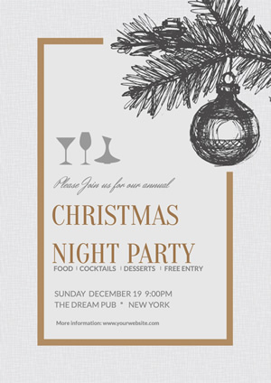 Holiday Christmas Night Party Poster Design