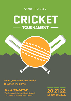 Simple Cricket Bat and Ball Tournament Poster Design