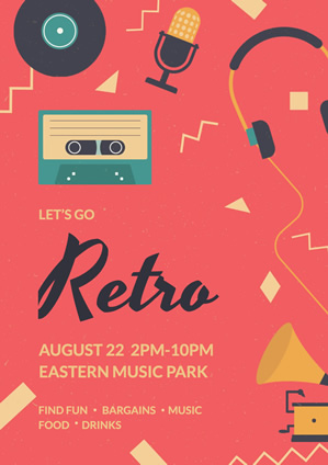 Retro Music Party Poster Poster Design