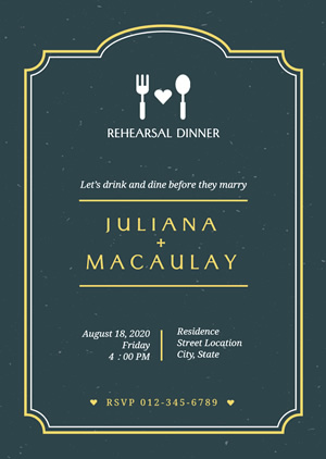 Wedding Rehearsal Dinner Invitation Design