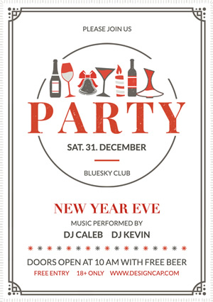 White New Year Eve Party Flyer Design