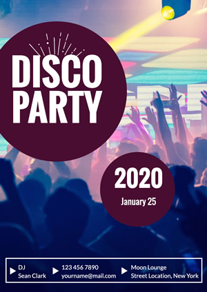 Dancing Crowd Disco Party Poster Design