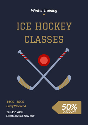 Ice Hockey Training Classes Discount Poster Poster Design