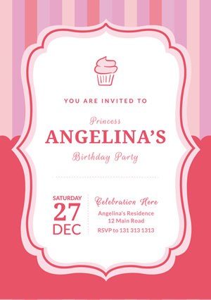 Pink Cupcake Birthday Flyer Design