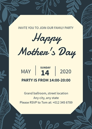 Elegant Mothers Day Invitation Design