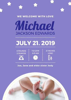 Starry Cute Baby Birth Announcement Poster Design