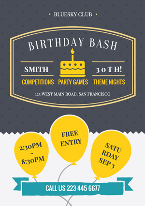 Birthday Bash Party Flyer Design
