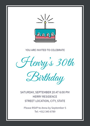 30th Birthday Invitation Design