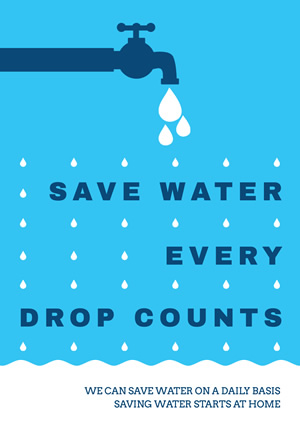 Blue and White Save Water Poster Poster Design
