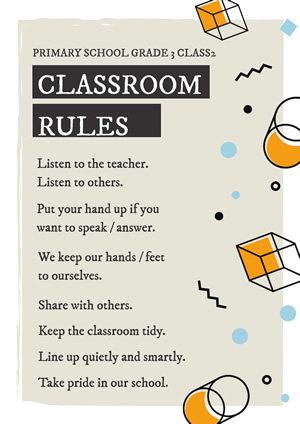 Simple Geometric Classroom Poster design