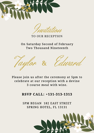 White Decorative Wedding Invitation Flyer Design
