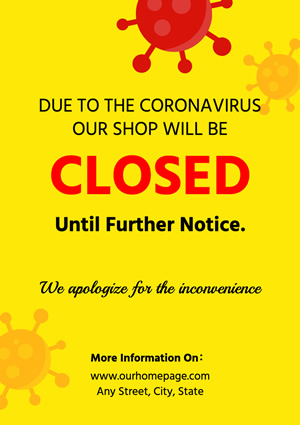 Shop Closed Temporarily Poster Design