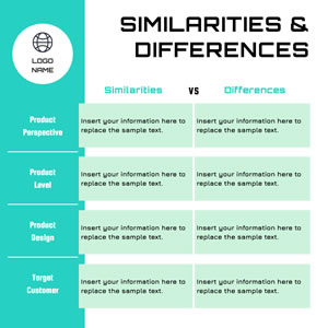 Product Similarities and Differences Table Chart Design