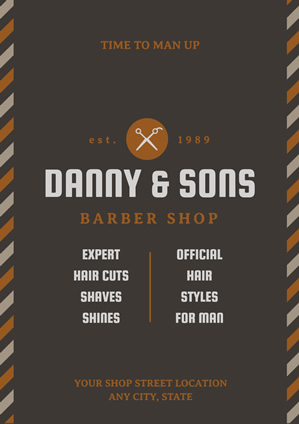 Brown Barber Shop Service Poster Design