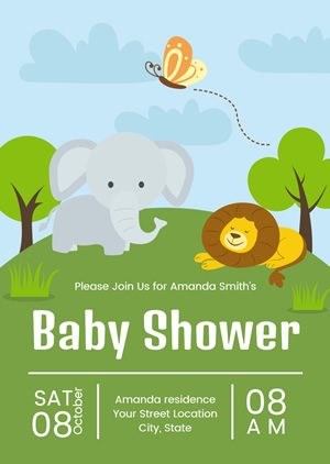 Cartoon Baby Shower Invitation Design