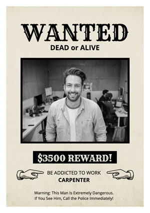 Funny Photo Wanted Poster Poster Design